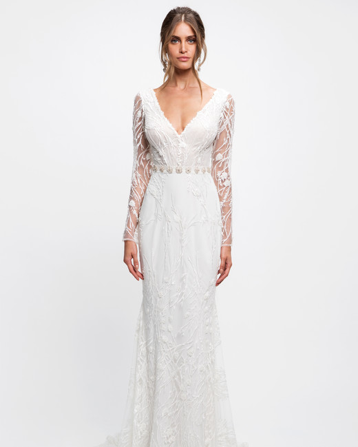 lihi hod wedding dress long sleeves v-neck beaded trumpet