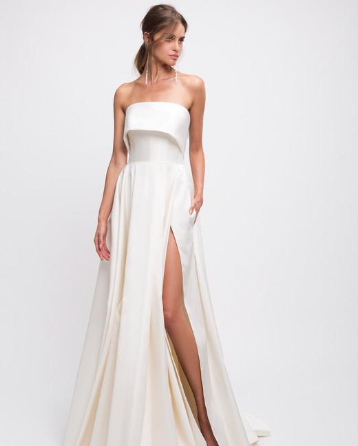 lihi hod wedding dress strapless a-line high slit