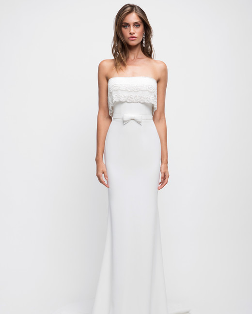 lihi hod wedding dress strapless trumpet bow belt