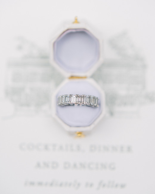 simple diamond band engagement ring in white and gold ring box