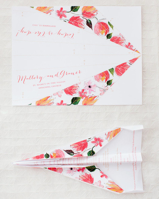 modern wedding paper airplanes