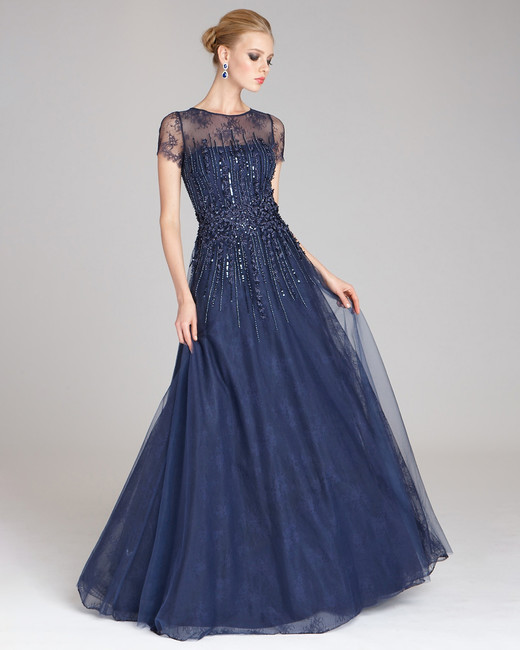 Teri Jon Beaded Tulle and Lace Gown