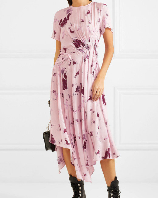 pink and purple floral bridesmaid dress short sleeve