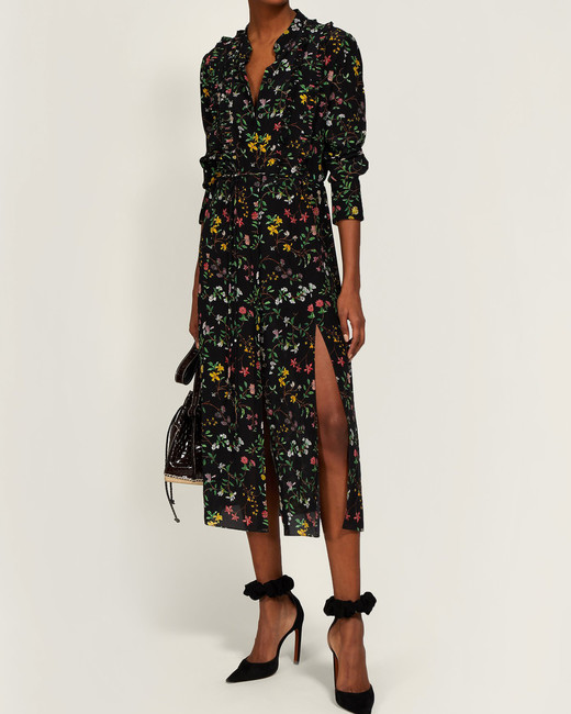 floral ruffled printed mob dress