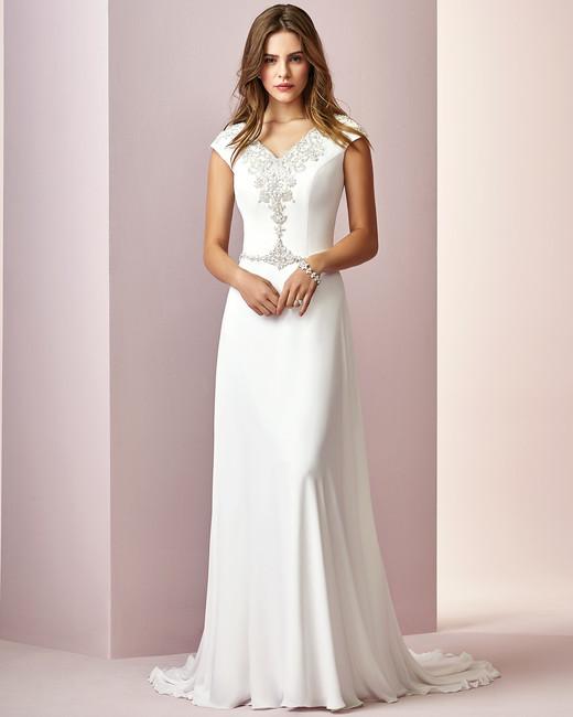 Rebecca Ingram wedding dress spring 2019 sheath short sleeved beaded