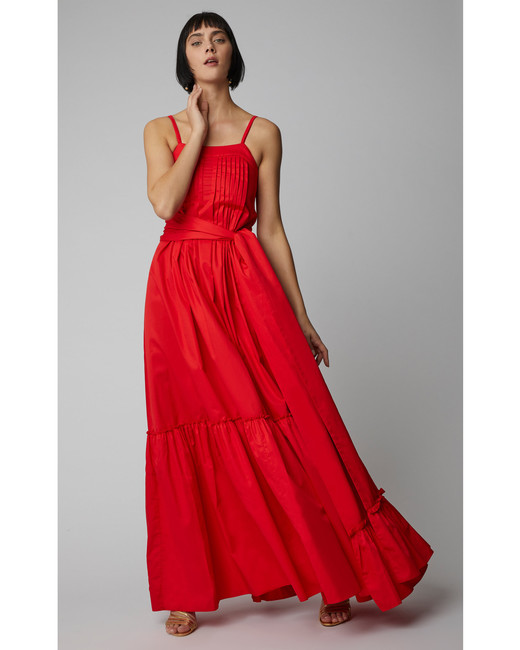 floor length red cotton dress