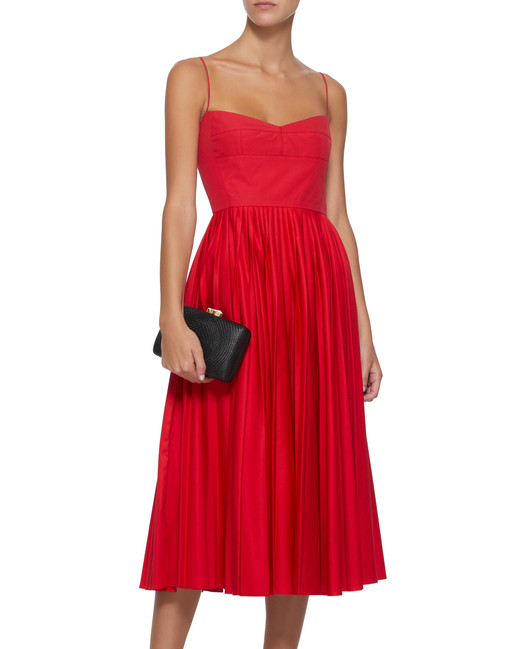 red Pleated Cotton Midi Dress