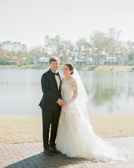 shelby barrett wedding couple by lake