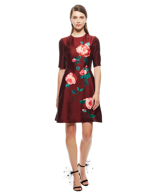 Lela Rose Floral Fit-and-Flare Dress
