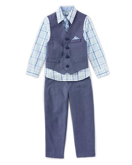 Plaid Woven Shirt, Vest, Pants and Tie Dress Set