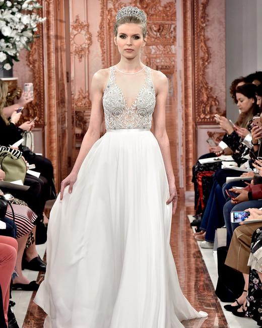 theia wedding dress spring 2019 sheer beaded bodice a-line