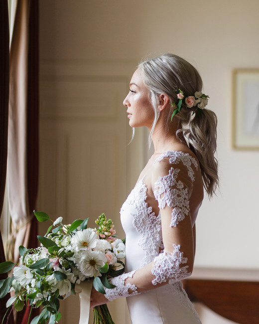 bridal ponytail floral