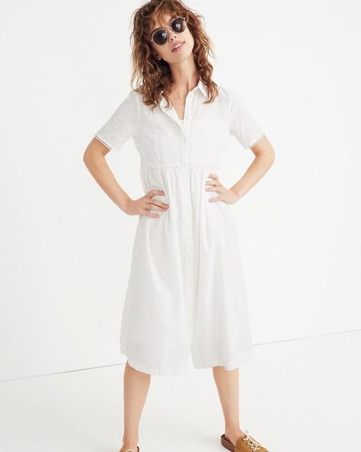 spring bridal shower dress white midi shirt dress