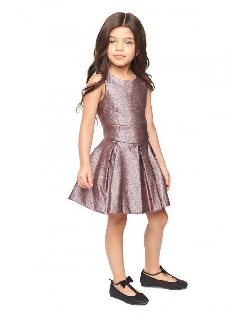 metallic flower girl dress