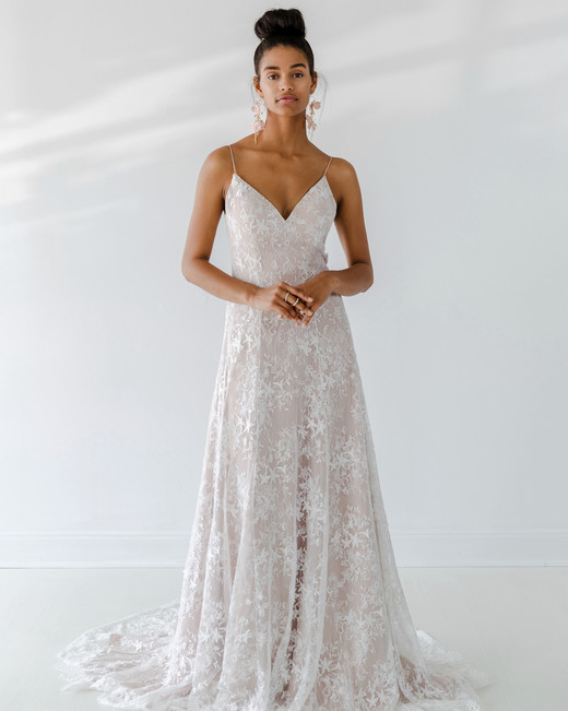 ivy aster dress fall 2018 spaghetti strap a-line nude overlay