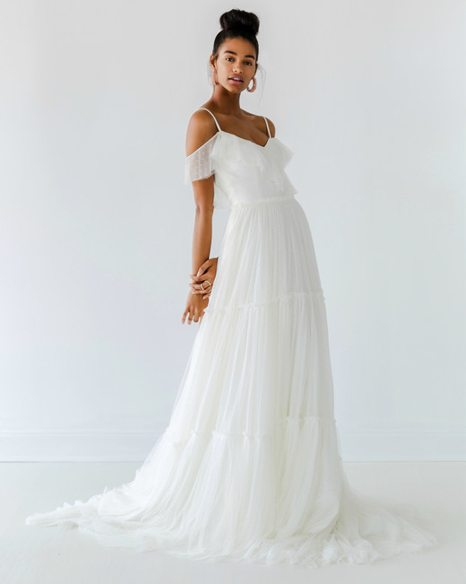 ivy aster dress fall 2018 off the shoulder spaghetti strap a-line