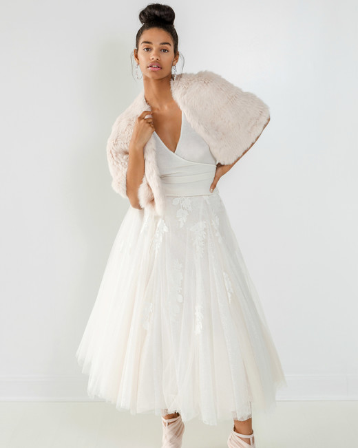 ivy aster dress fall 2018 tea length tulle wrap fur cover