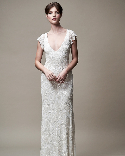Jenny Yoo Collection. Embroidered Column Wedding Dress ...