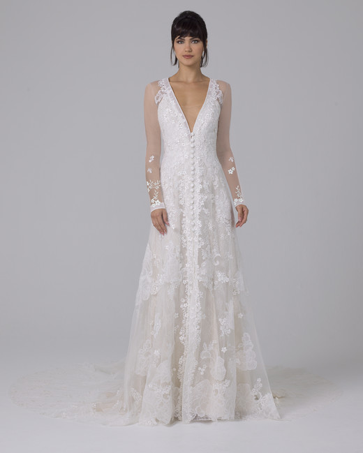 Liancarlo illusion long-sleeve wedding dress fall 2019