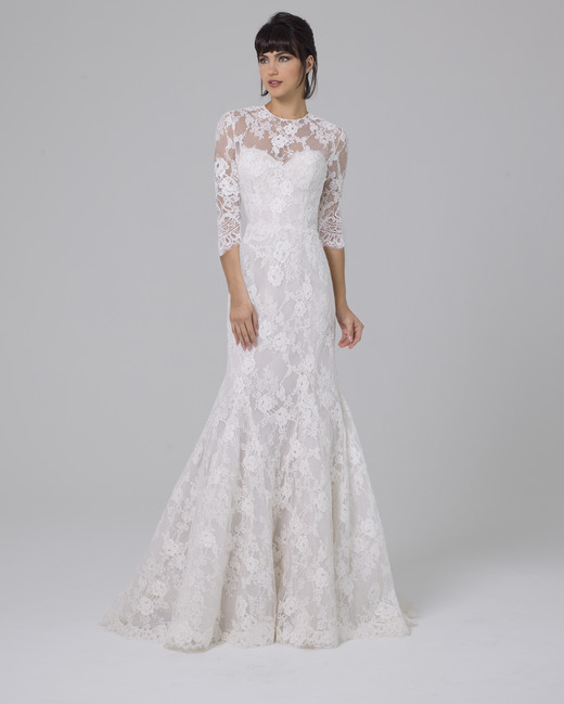 Liancarlo mermaid wedding dress with half sleeves fall 2019