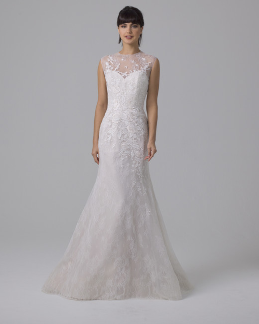 Liancarlo trumpet wedding dress with illusion high neckline fall 2019