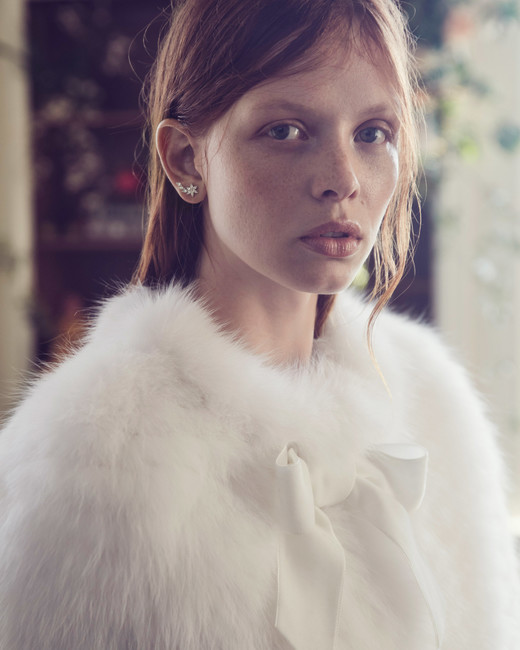 monique lhuillier fall 2019 white fur jacket
