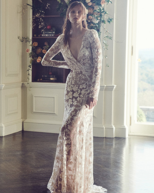 monique lhuillier fall 2019 floral long sleeve sheath
