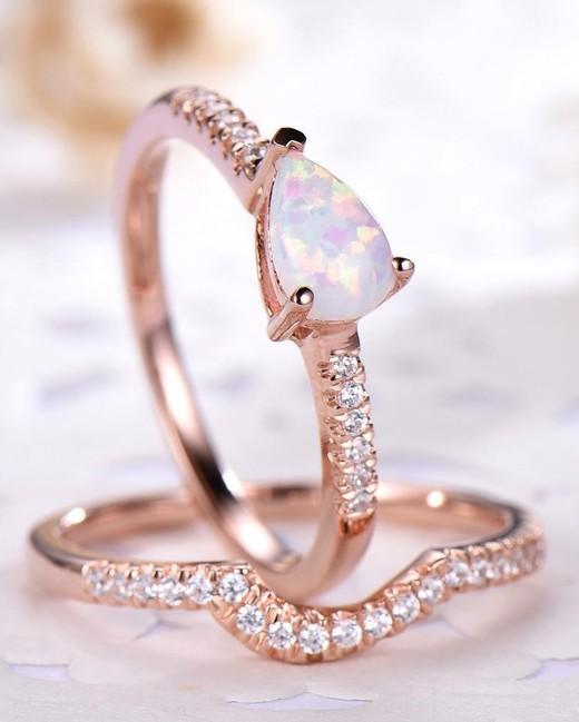 gold diamond band opal engagement ring