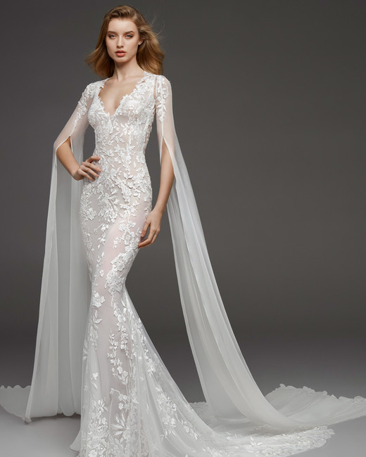 pronovias fall 2019 sheath bell sleeves wedding dress