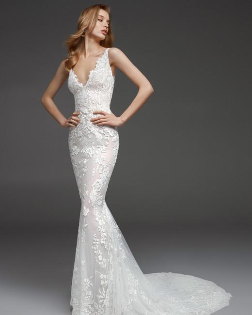 pronovias fall 2019 sheath spaghetti strap wedding dress