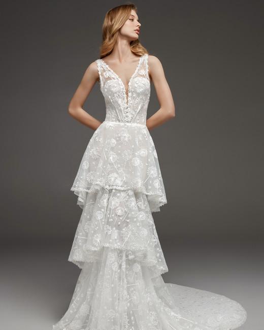 pronovias fall 2019 tier high neck wedding dress