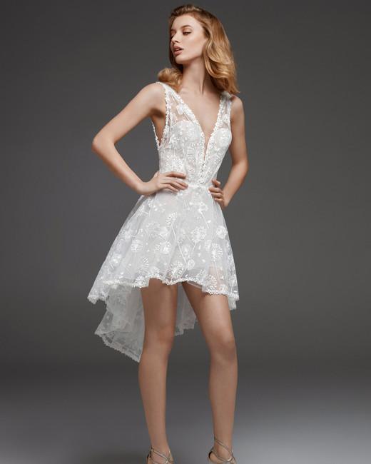 pronovias fall 2019 v-neck full high-low skirt wedding dress
