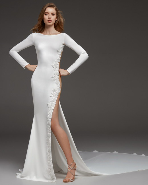 pronovias fall 2019 sheath high slit wedding dress