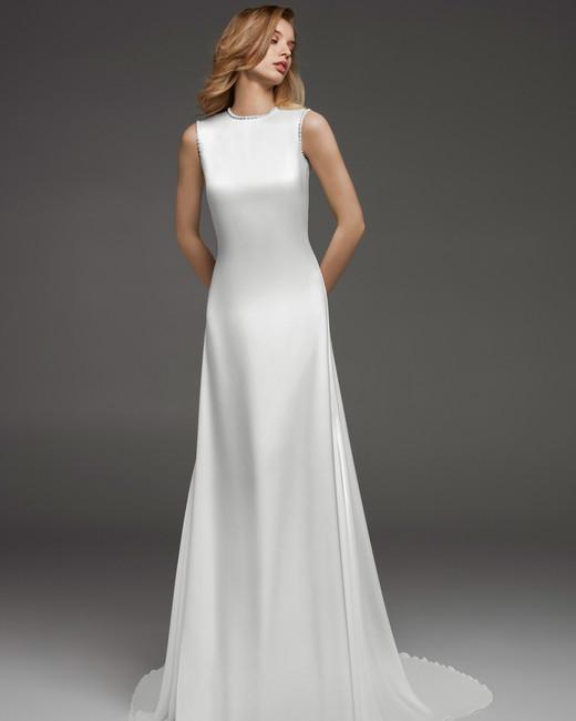 pronovias fall 2019 a-line high neck wedding dress