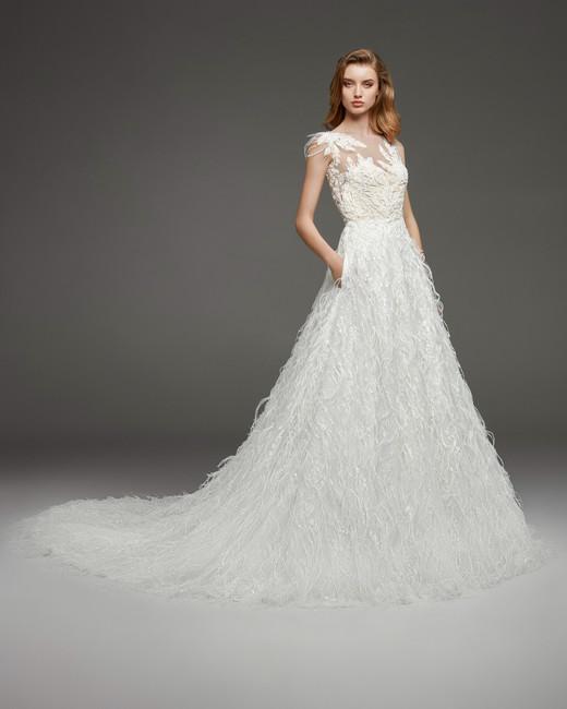 pronovias fall 2019 illusion high neck long fringe ball gown wedding dress