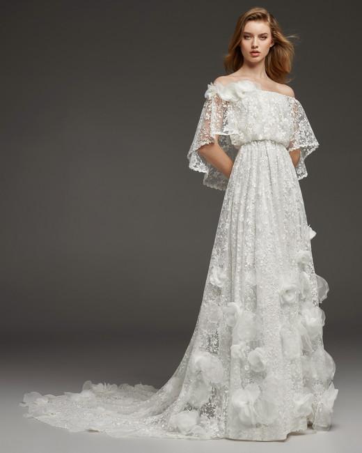 pronovias fall 2019 a-line 3D floral detail wedding dress