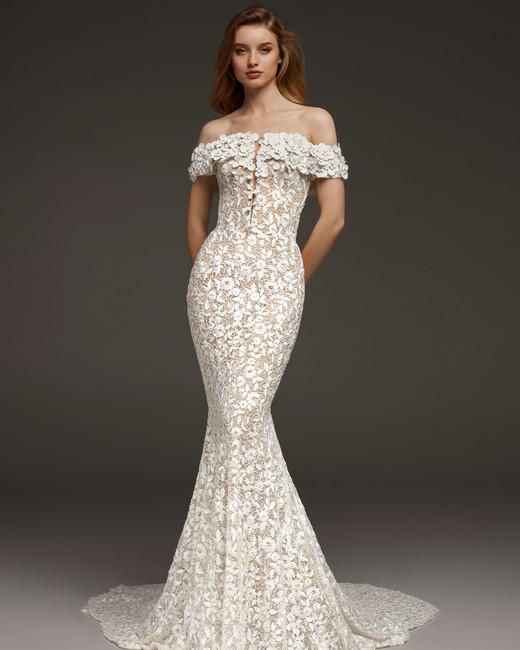 pronovias fall 2019 floral applique mermaid wedding dress