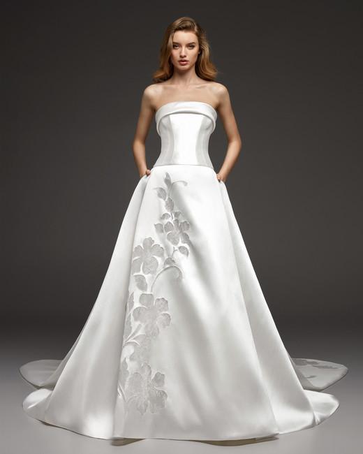 pronovias fall 2019 strapless ball gown wedding dress