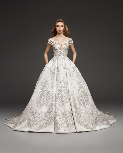 pronovias fall 2019 over the shoulder beaded ball gown wedding dress