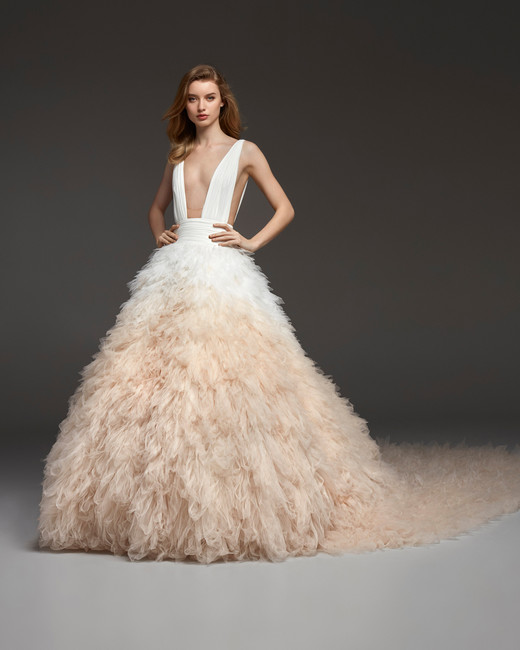 pronovias fall 2019 v-neck tulle wedding dress