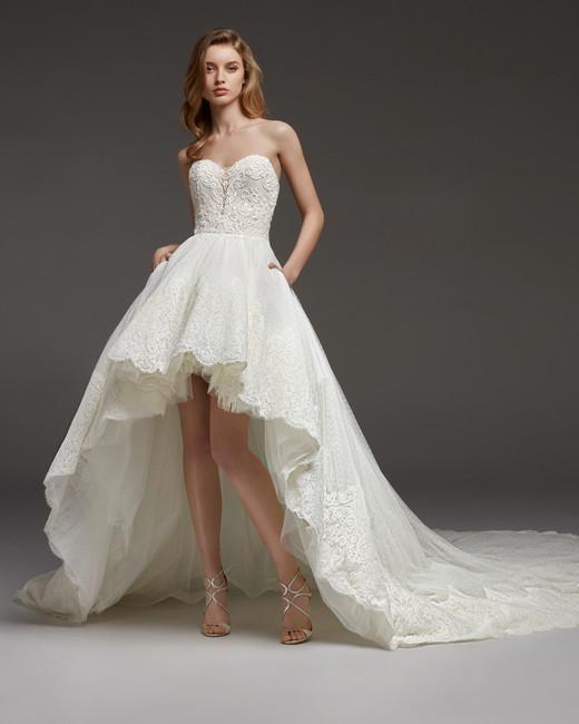 pronovias fall 2019 strapless high-low dress wedding dress