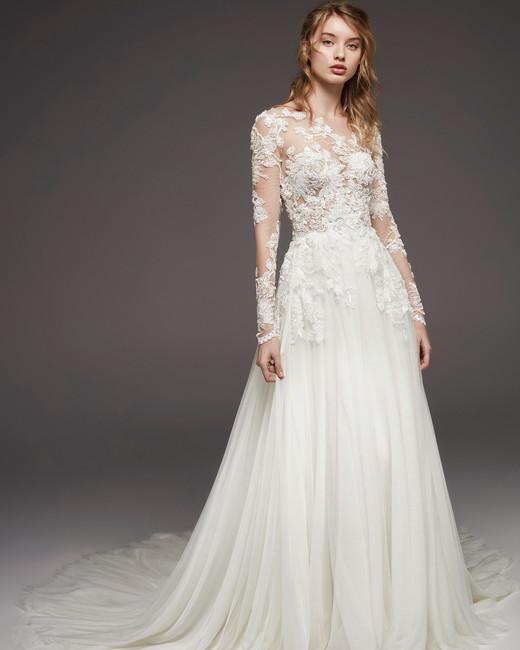 pronovias fall 2019 a-line illusion high neckline wedding dress