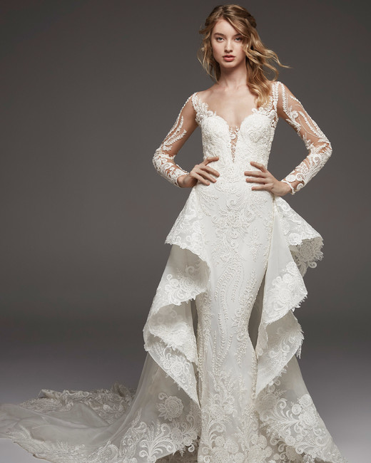 pronovias fall 2019 sheath overskirt wedding dress