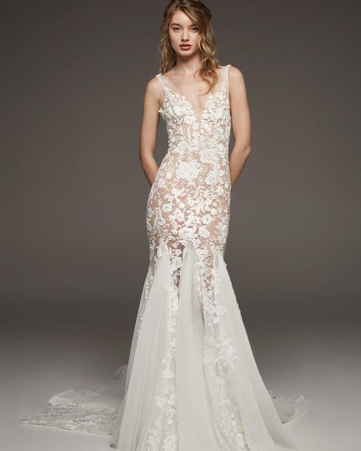 pronovias fall 2019 sheer trumpet floral applique wedding dress