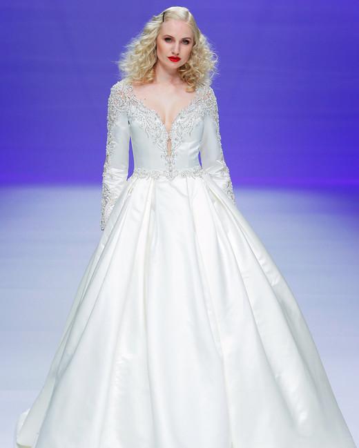 sottero midgley dress spring 2019 long sleeves deep v ball gown