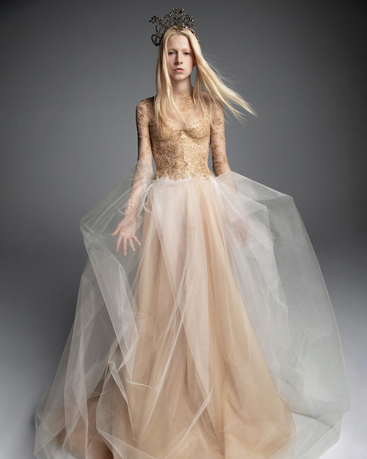 Vera Wedding Dress Champagne Long Sleeved Tulle Skirt