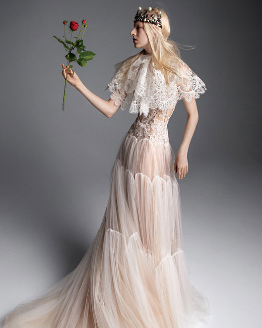 vera wang wedding dress sheer tulle lace with capelet