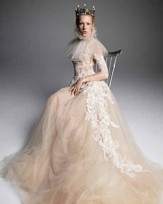 vera wang wedding dress champagne ball gown asymmetric lace detail