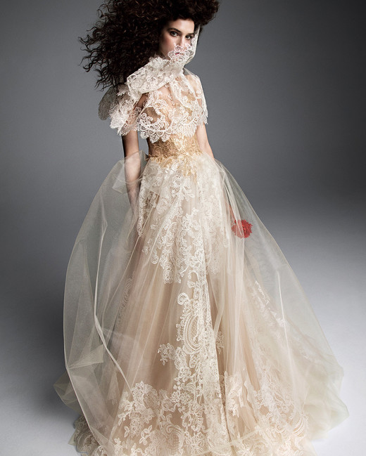 vera wang wedding dress layered tulle skirt lace accents capelet