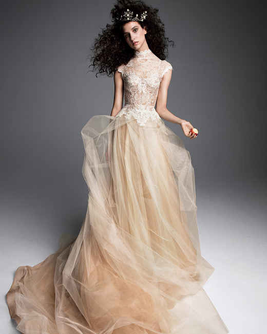 vera wang wedding dress high-neck lace cap sleeves